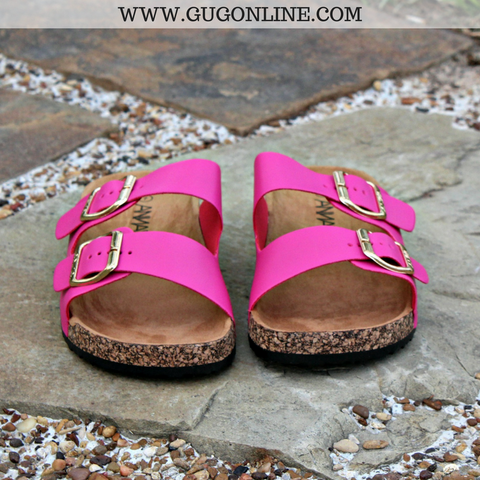 Summer Perfection Slide In Sandal in Hot Pink