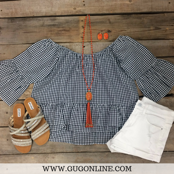 Perfect For Each Other Gingham Off Shoulder Top in Navy