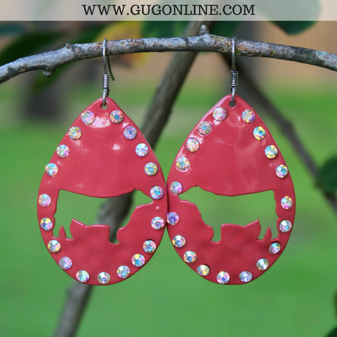 Show Heifer Cut Out Teardrop Earrings in Red