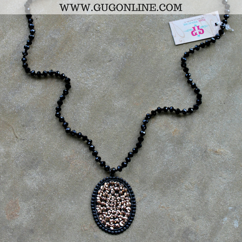 Pink Panache Long Black Crystal Necklace with Large Black Matte Oval with Rose Gold Crystals