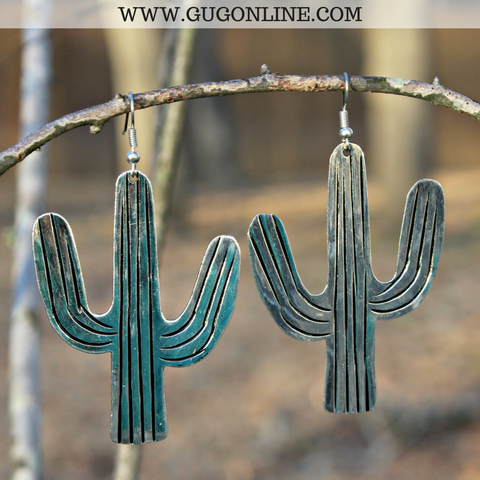 Large Silver Cactus Earrings