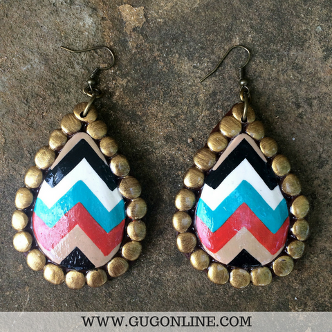 Chevron Teardrop Clay Earrings in Red, Black, Jade and Taupe