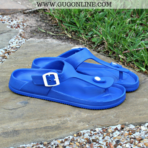 Pool Side Ready Thong Sandal in Royal Blue