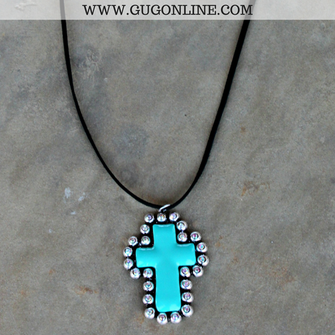 Cross Pendant with AB Crystals on Black Leather Necklace in Turquoise