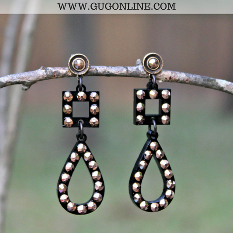 Pink Panache Black Post & Teardrop Earrings with Rose Gold Crystals