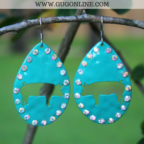 Show Pig Cut Out Teardrop Earrings in Turquoise