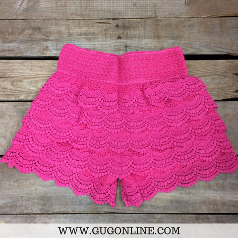 Crochet Cutie Shorts in Hot Pink
