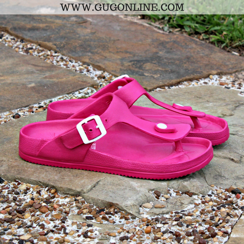 Pool Side Ready Thong Sandal in Hot Pink