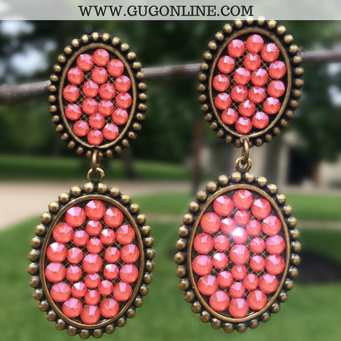 Pink Panache Bronze Mini and Small Oval Dangle Earrings with Candy Coral Crystals