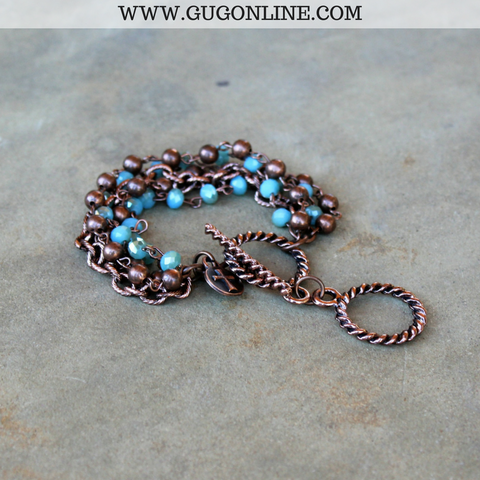 Turquoise Crystal and Copper Bead Bracelet