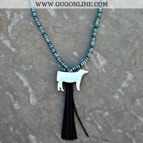 Long Silver and Turquoise Bead Necklace with Tassel and Silver Show Cattle