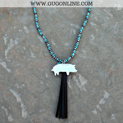 Long Silver and Turquoise Bead Necklace with Tassel and Silver Show Pig