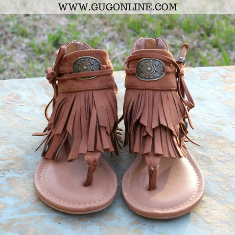 Chia Fringe Sandals in Tan