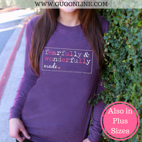 Fearfully and Wonderfully Made Long Sleeve Tee Shirt in Purple