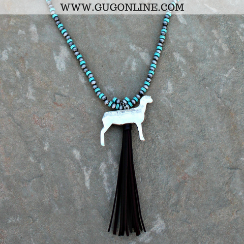 Long Silver and Turquoise Bead Necklace with Tassel and Silver Show Lamb