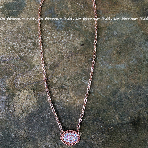 Pink Panache Mini Rose Gold Oval Necklace with AB Crystals