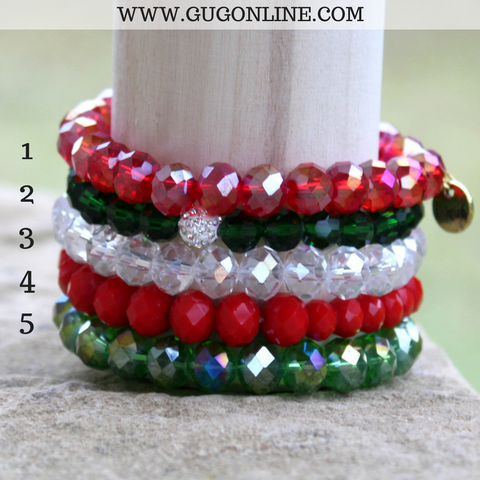Stackable Crystal Bracelets - Christmas