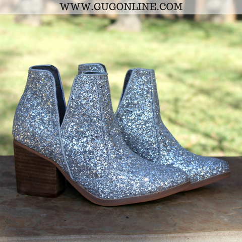 Firefly Deep V Cut Glitter Booties in Silver
