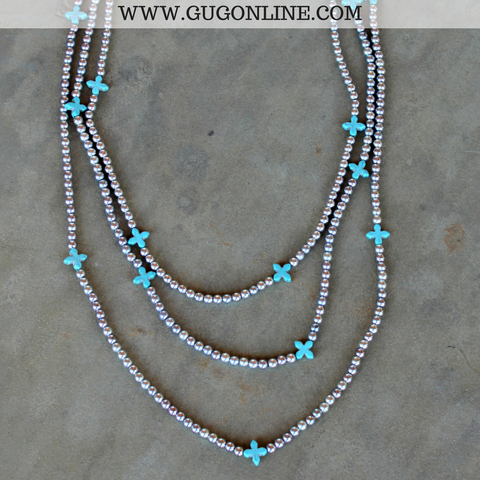 Silver Bead Necklace with Turquoise Cross Accents