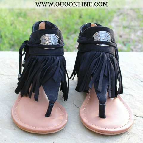 Chia Fringe Sandals in Black