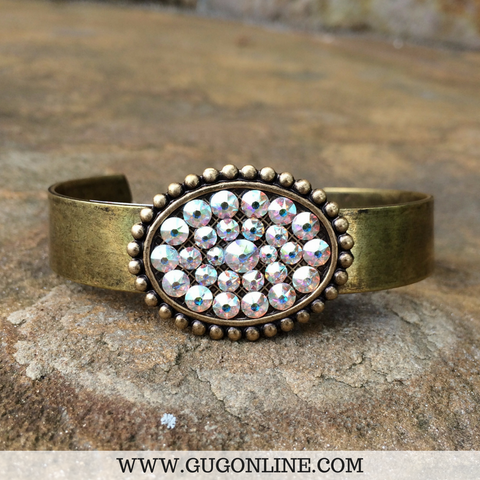 Pink Panache Bronze Cuff with AB Crystal Oval