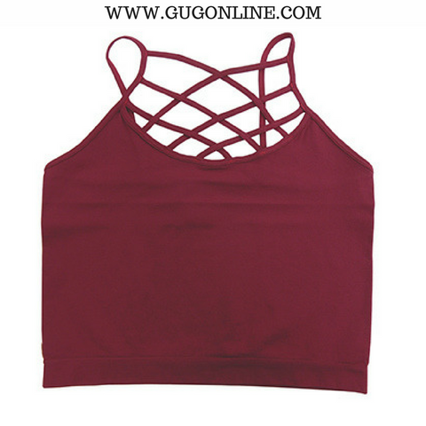 All Caged Up Strappy Bralette in Maroon