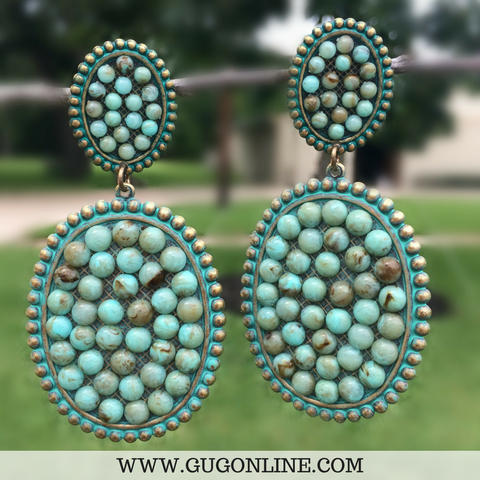 Pink Panache Large Turquoise Double Oval Earrings with Turquoise Stones