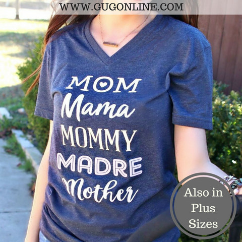 Mom, Mama, Mommy, Madre, Mother Short Sleeve Tee Shirt in Navy