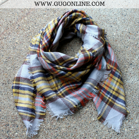 Brown, Orange and Yellow Plaid Blanket Scarf