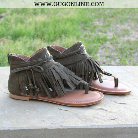 Chia Fringe Sandals in Olive Green | Size 7.5