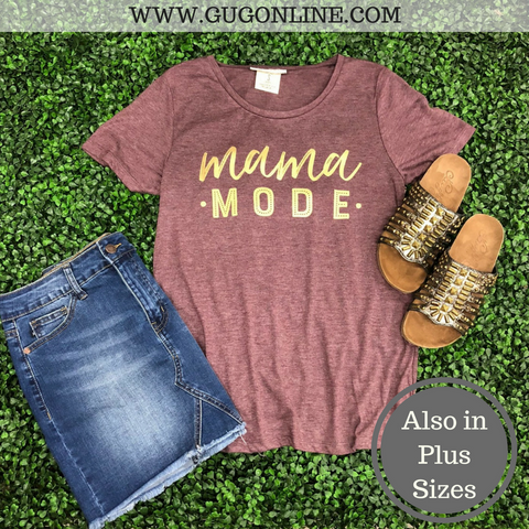 Mama Mode Short Sleeve Tee Shirt in Maroon