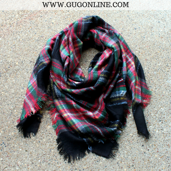 Black, Red & Green Plaid Blanket Scarf