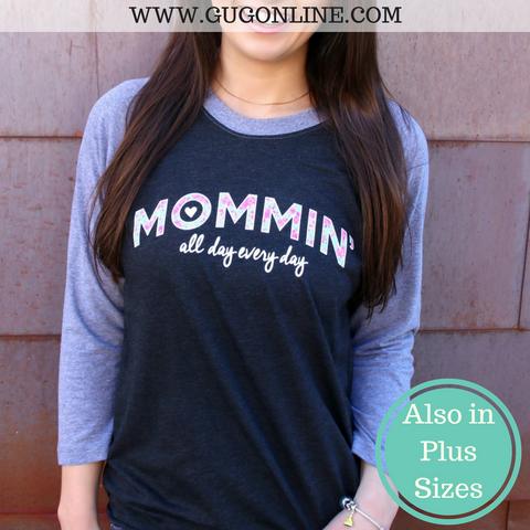 Mommin' All Day Baseball Sleeve Tee Shirt in Charcoal