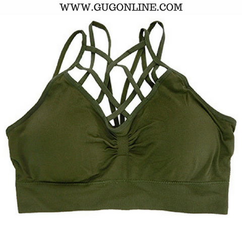 Give A Little More Padded Caged Bralette in Olive Green