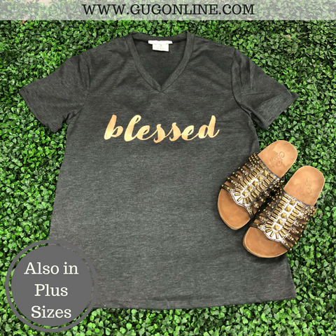 Blessed Short Sleeve Tee Shirt in Charcoal