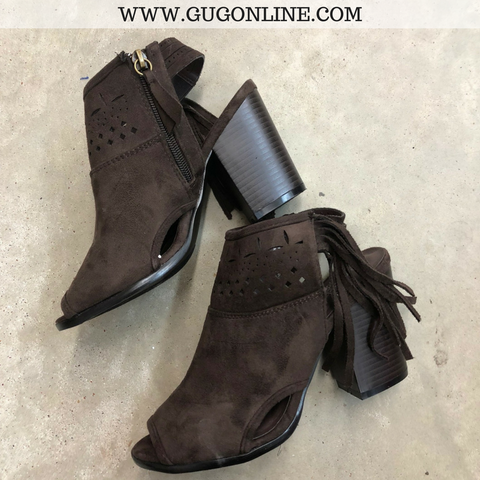 Corky's Chocolate Brown Fringe Heel (Upfront) - Modeled Pair