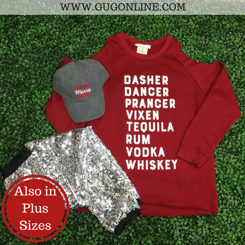 Dasher, Dancer, Tequila, Whiskey Cold Shoulder Sweatshirt
