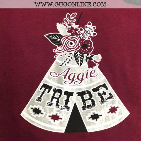 Aggie Tribe Tee Pee Short Sleeve Tee Shirt in Maroon