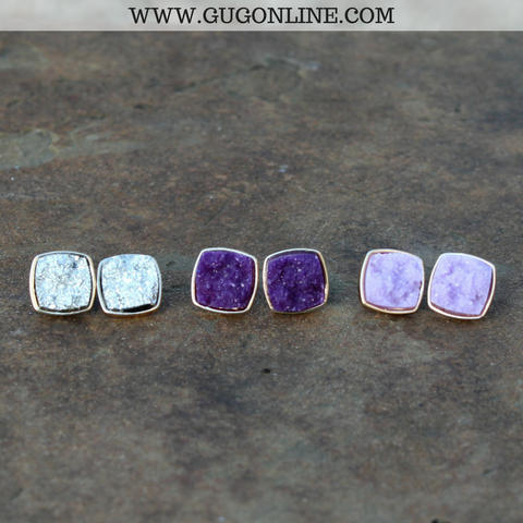Set of Three Druzy Stud Earrings - Purple Ombre