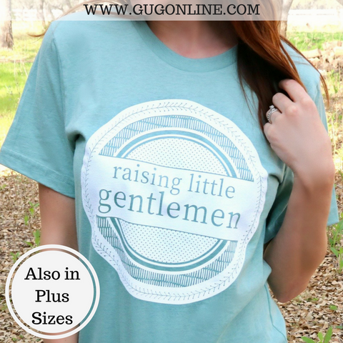 Raising Little Gentlemen Short Sleeve Tee Shirt in Dusty Blue
