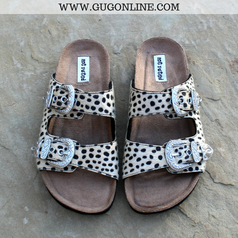 Coco Whip Leopard Slide Sandals with Buckles