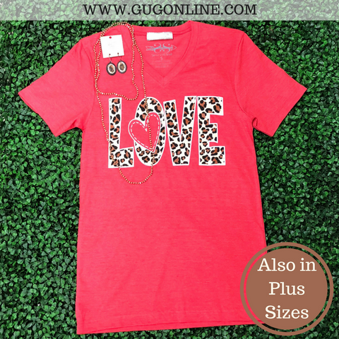 Leopard Love Short Sleeve Tee Shirt in Red