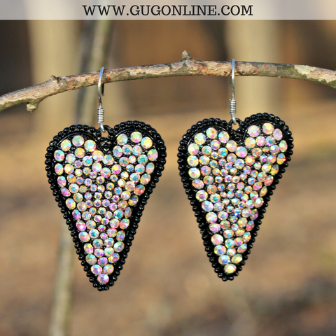Black Heart Earrings with Solid AB Crystals