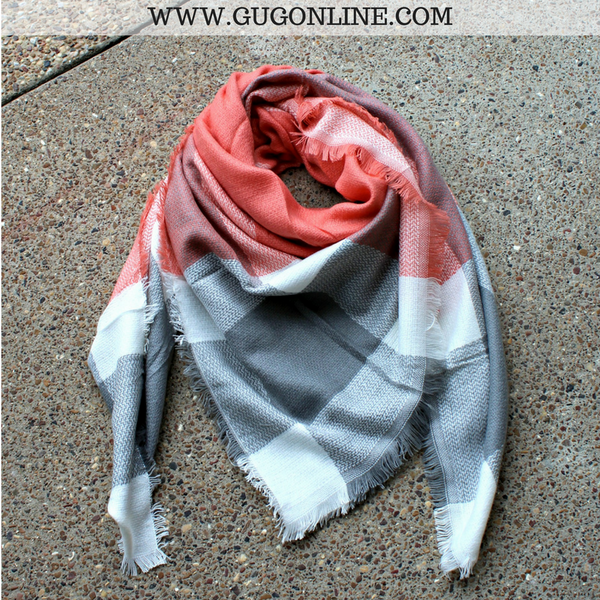 Coral, Grey and White Plaid Blanket Scarf
