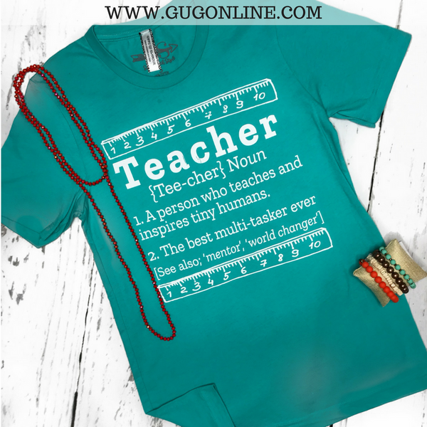 Teacher Definition Short Sleeve Tee Shirt in Seafoam Turquoise