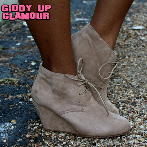 Lace Up Wedge Bootie in Taupe - Size 10