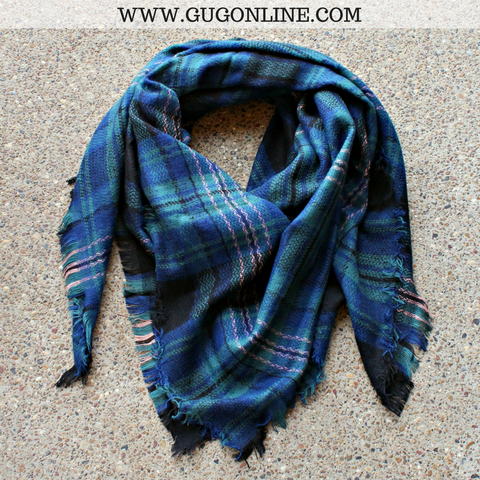 Navy Blue, Sage & Light Pink Plaid Blanket Scarf