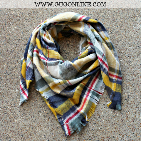 Ivory, Yellow, Navy & Sage Plaid Blanket Scarf