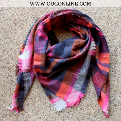 Hot Pink and Navy Blue Plaid Blanket Scarf