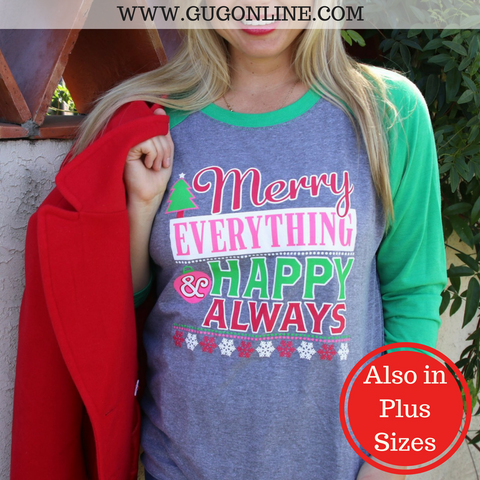 Merry Everything & Happy Always Christmas Baseball Tee Shirt